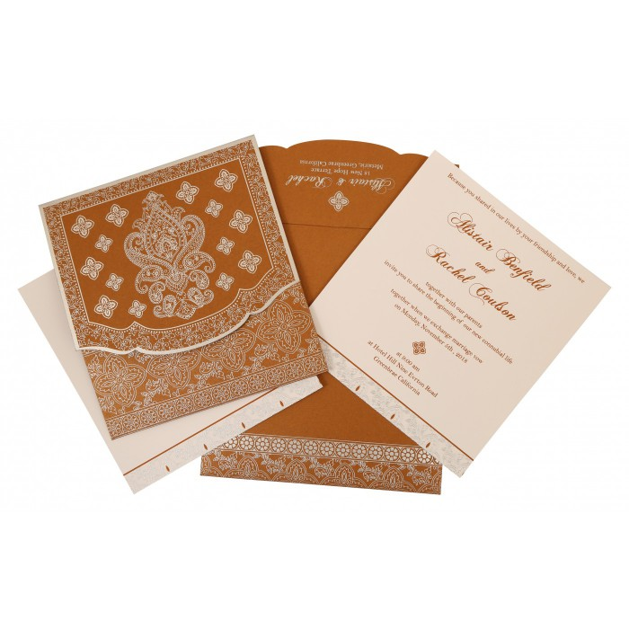 Shimmery Screen Printed Wedding Invitation : AIN-800B - A2zWeddingCards
