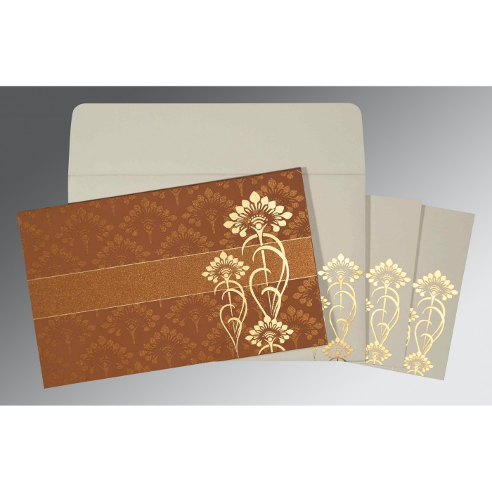 COPPER SHIMMERY SCREEN PRINTED WEDDING CARD : AIN-8239H - A2zWeddingCards
