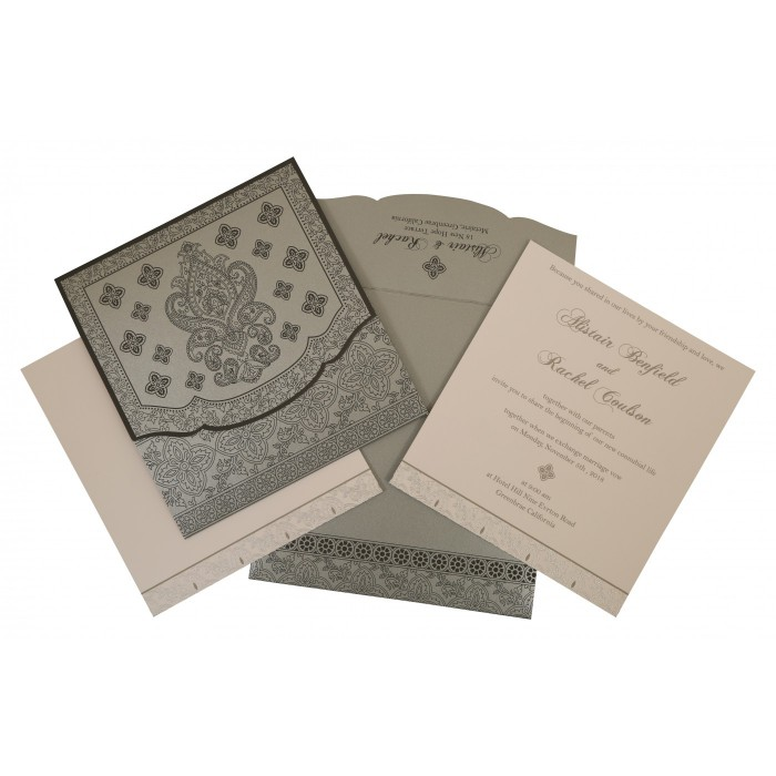 GREY SHIMMERY SCREEN PRINTED WEDDING INVITATION : ARU-800E - A2zWeddingCards