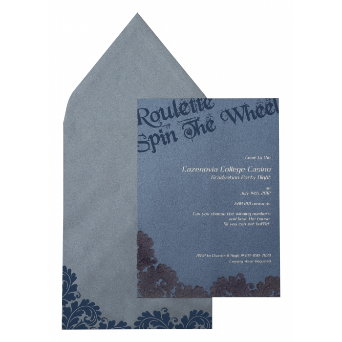 Smoke Blue Shimmery Paisley Themed - Screen Printed Wedding Invitation : APY-890