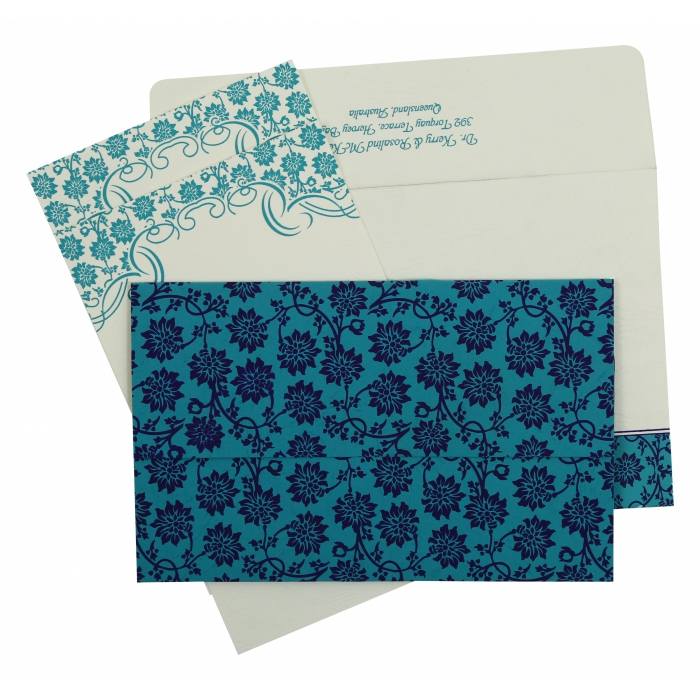 TURQUOISE MATTE FLORAL THEMED - SCREEN PRINTED WEDDING INVITATION : ARU-810E - A2zWeddingCards