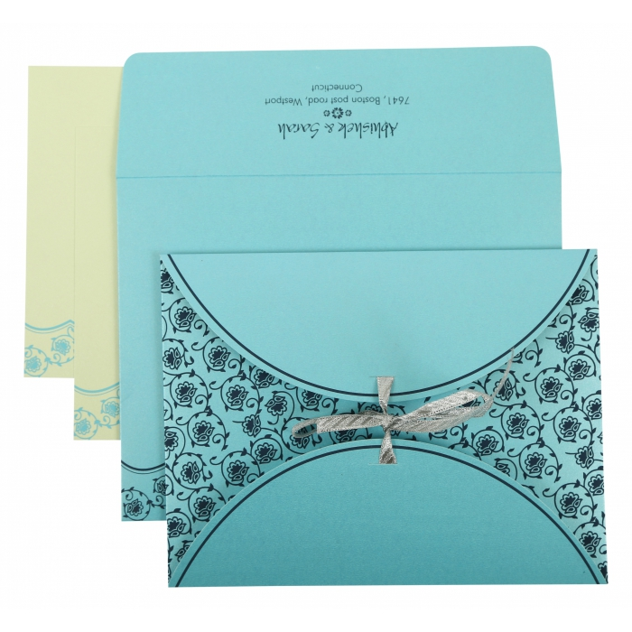 TURQUOISE SHIMMERY BUTTERFLY THEMED - SCREEN PRINTED WEDDING INVITATION : AIN-821B - A2zWeddingCards
