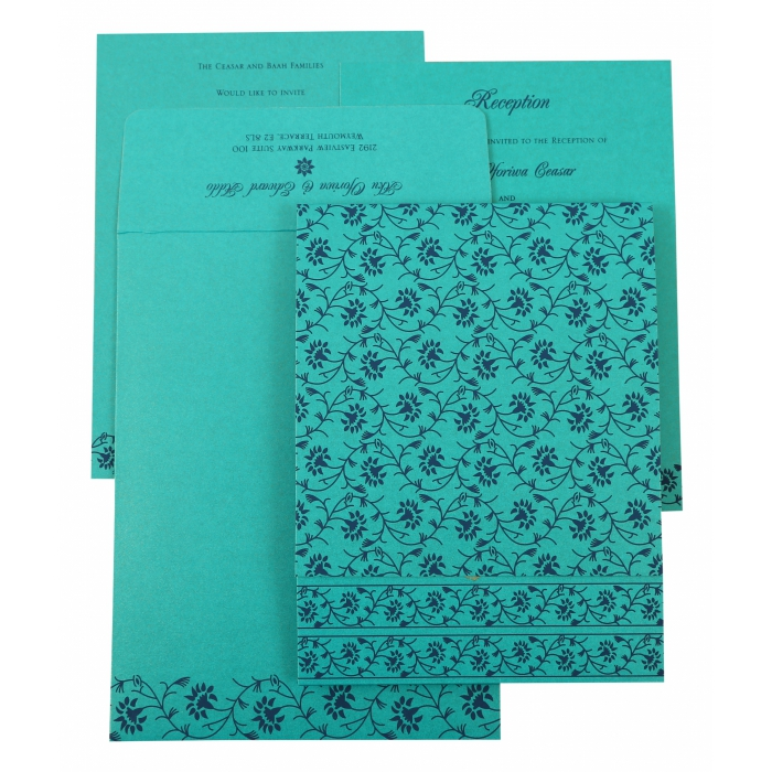 TURQUOISE SHIMMERY FLORAL THEMED - SCREEN PRINTED WEDDING INVITATION : AG-822C - A2zWeddingCards