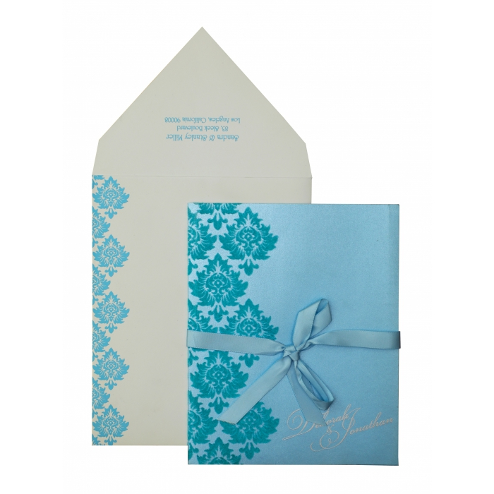 TURQUOISE SHIMMERY SCREEN PRINTED WEDDING INVITATION : AI-835 - A2zWeddingCards