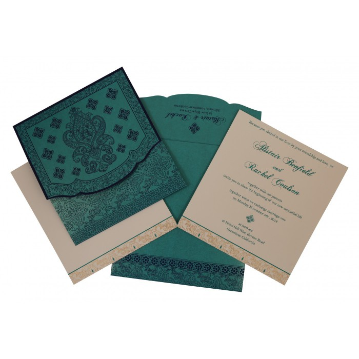Turquoise Shimmery Screen Printed Wedding Invitation : AG-800D - A2zWeddingCards
