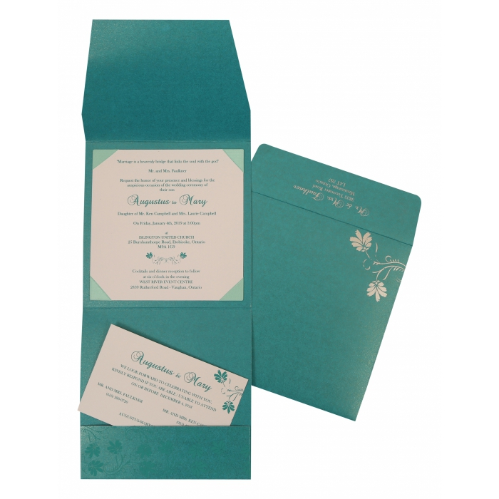 TURQUOISE SHIMMERY SCREEN PRINTED WEDDING INVITATION : AIN-803A - A2zWeddingCards