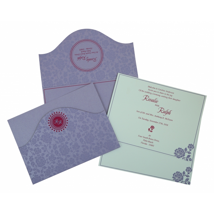 LAVENDER PURPLE SHIMMERY FLORAL THEMED - SCREEN PRINTED WEDDING INVITATION : AI-802B - A2zWeddingCards