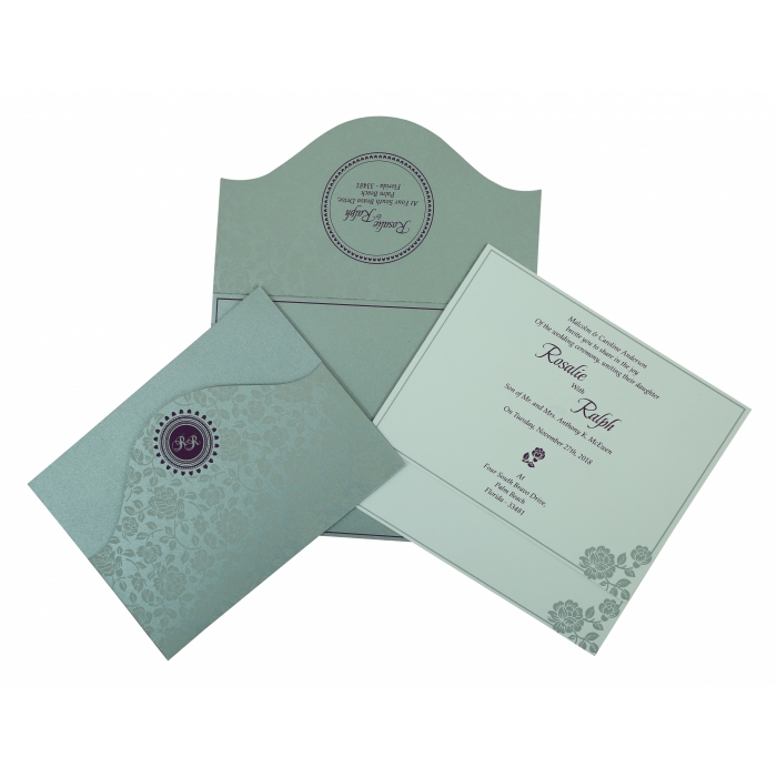 SILVER SHIMMERY FLORAL THEMED - SCREEN PRINTED WEDDING INVITATION : AIN-802A - A2zWeddingCards