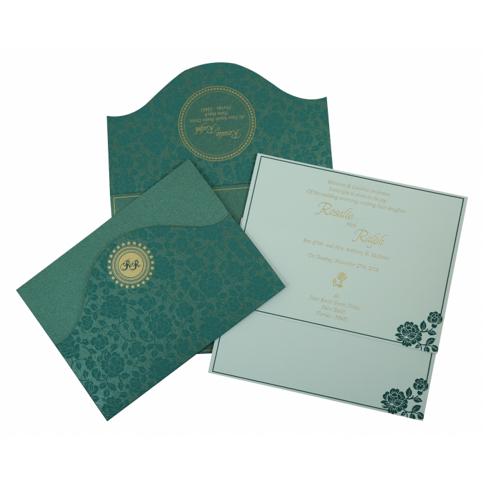 GREEN SHIMMERY FLORAL THEMED - SCREEN PRINTED WEDDING INVITATION : AIN-802C - A2zWeddingCards