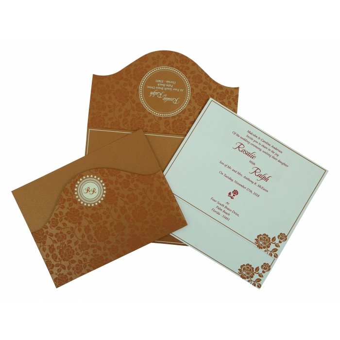 COPPER SHIMMERY FLORAL THEMED - SCREEN PRINTED WEDDING INVITATION : AIN-802E - A2zWeddingCards