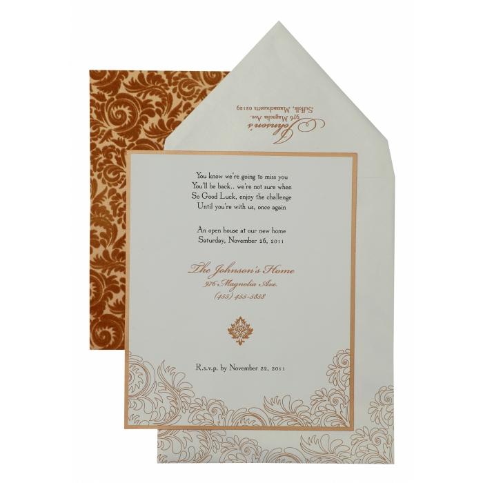 White Copper Matte Paisley Themed - Screen Printed Wedding Invitation : APY-882