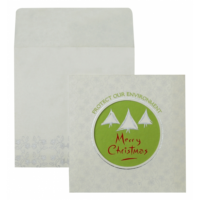 WHITE HANDMADE COTTON FLORAL THEMED - FOIL STAMPED HOLIDAY CARDS : AH-847 - A2zWeddingCards