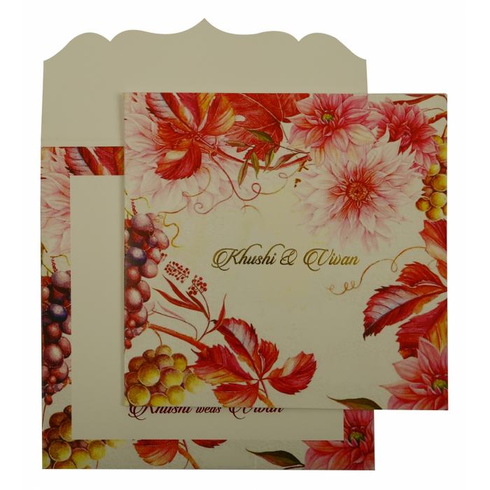 WHITE MATTE FLORAL THEMED - OFFSET PRINTED WEDDING INVITATION : AW-1912 - A2zWeddingCards
