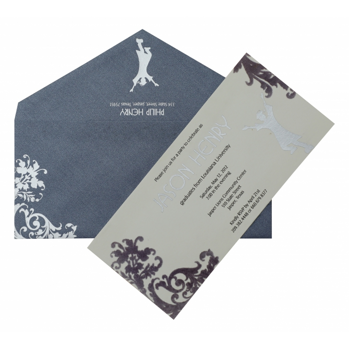 White Matte Paisley Themed - Wedding Invitation : APY-884