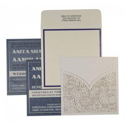 WHITE SHIMMERY LASER CUT WEDDING INVITATION : ASO-1593 - A2zWeddingCards