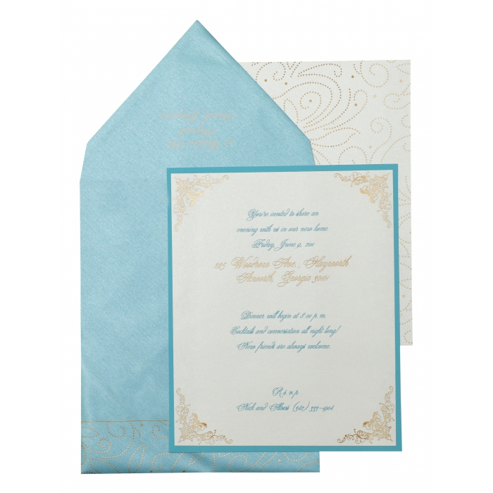 White Shimmery Paisley Themed - Screen Printed Wedding Invitation : APY-896
