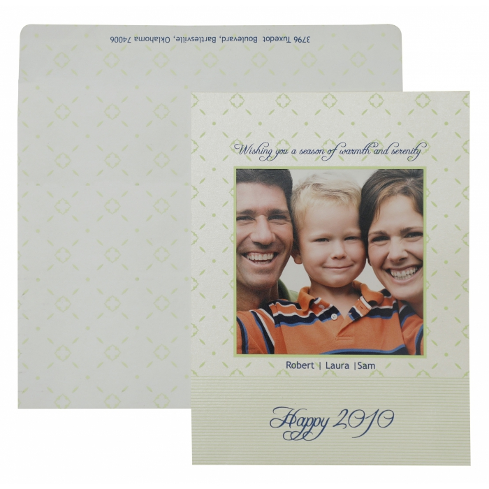 WHITE SHIMMERY SCREEN PRINTED HOLIDAY CARDS : AH-868 - A2zWeddingCards
