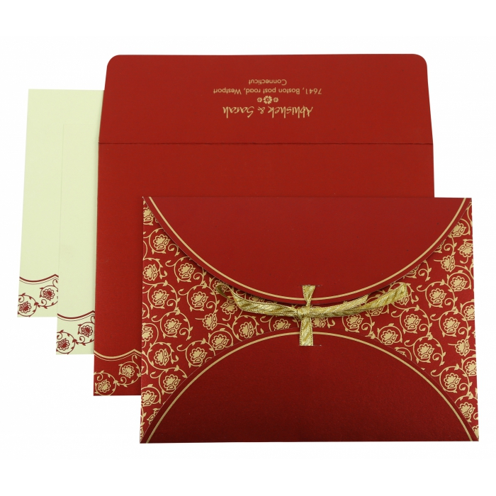 WINE RED SHIMMERY BUTTERFLY THEMED - SCREEN PRINTED WEDDING INVITATION : AW-821D - A2zWeddingCards