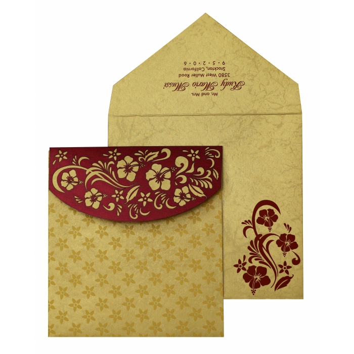 WINE RED SHIMMERY FLORAL THEMED - LASER CUT WEDDING INVITATION : AIN-828 - A2zWeddingCards
