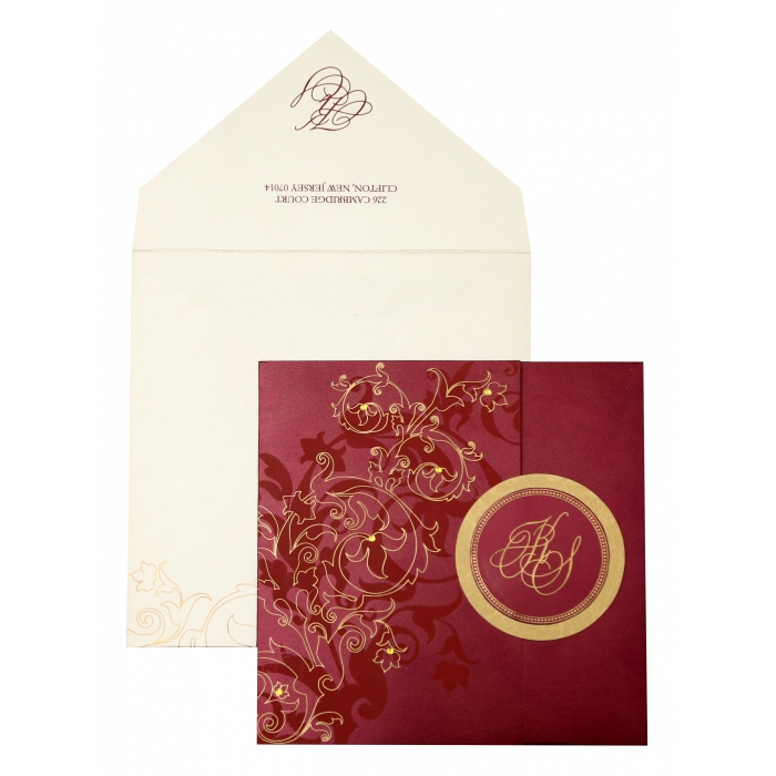WINE RED SHIMMERY FLORAL THEMED - SCREEN PRINTED WEDDING INVITATION : AC-843 - A2zWeddingCards