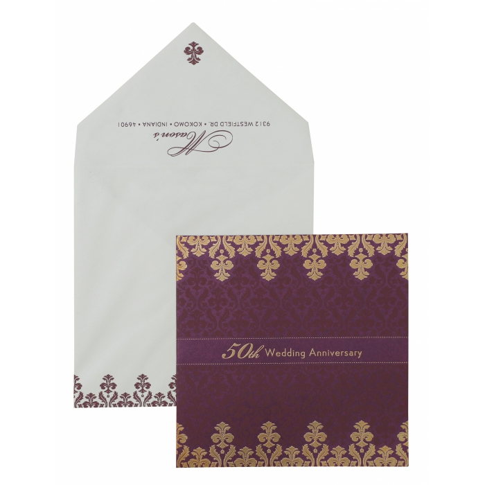 Wine Red Shimmery Paisley Themed - Screen Printed Wedding Invitation : APY-886