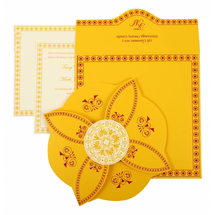 YELLOW BUTTERFLY THEMED - SCREEN PRINTED WEDDING INVITATION : AI-820C - A2zWeddingCards