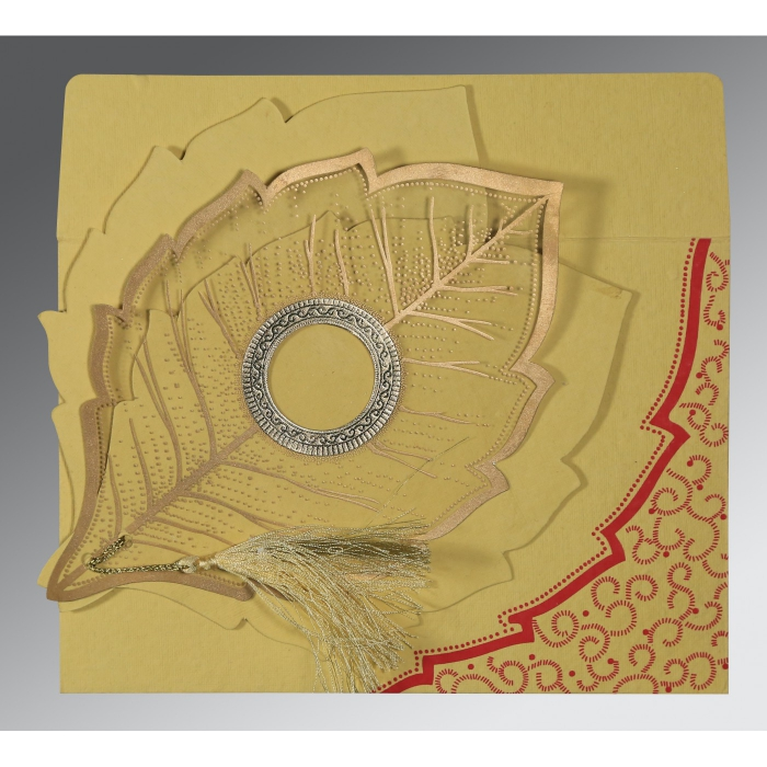 MUSTARD YELLOW HANDMADE COTTON FLORAL THEMED - FOIL STAMPED WEDDING CARD : AS-8219G - A2zWeddingCards