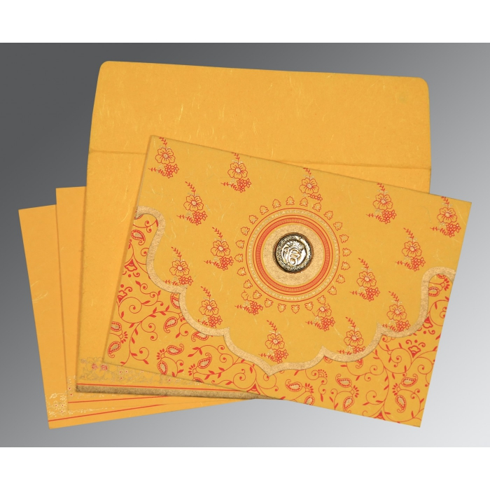 Yellow Handmade Silk Screen Printed Wedding Invitations : ARU-8207O - A2zWeddingCards