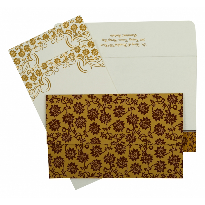YELLOW MATTE FLORAL THEMED - SCREEN PRINTED WEDDING INVITATION : ASO-810C - A2zWeddingCards