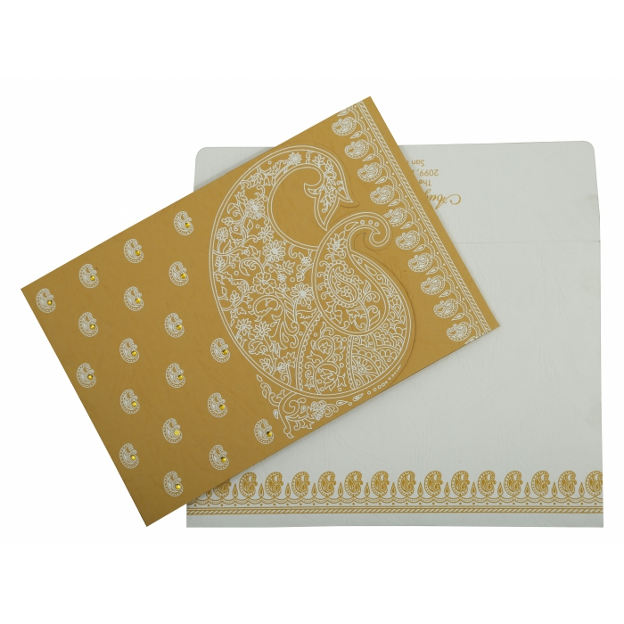 Yellow Matte Paisley Themed - Screen Printed Wedding Invitation : AW-807C - A2zWeddingCards