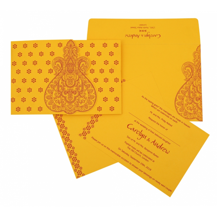 MUSTARD YELLOW SCREEN PRINTED WEDDING INVITATION : ARU-801A - A2zWeddingCards