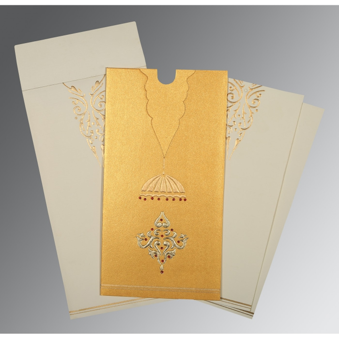 YELLOW GOLD SHIMMERY FOIL STAMPED WEDDING CARD : ARU-1350 - A2zWeddingCards