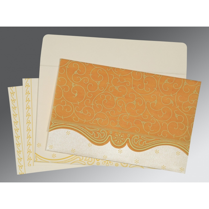 MUSTARD YELLOW MATTE EMBOSSED WEDDING INVITATION : ASO-8221H - A2zWeddingCards
