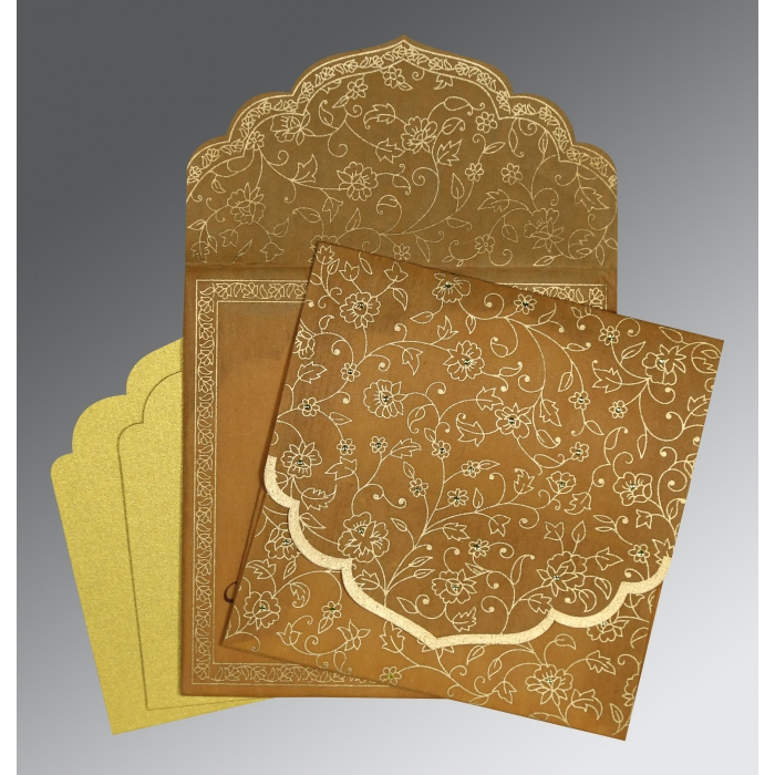 SATIN GOLD WOOLY FLORAL THEMED - SCREEN PRINTED WEDDING INVITATION : AIN-8211E - A2zWeddingCards
