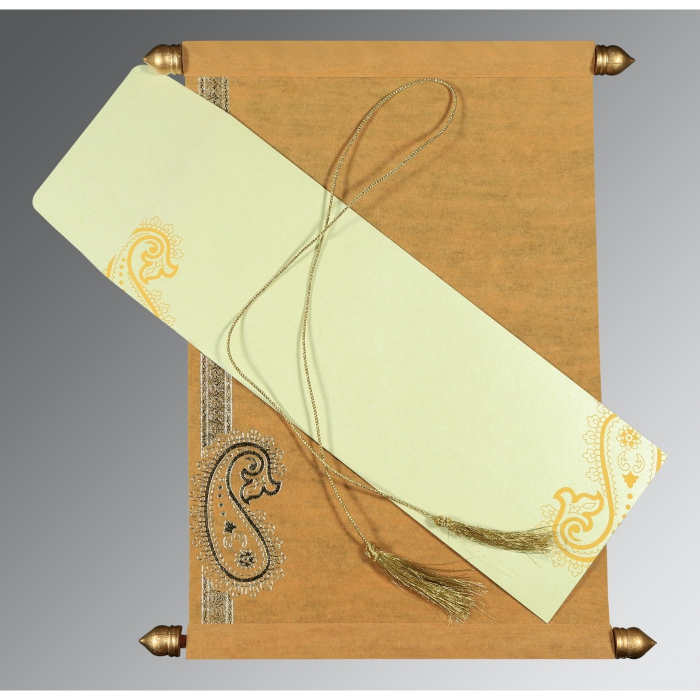 YELLOW WOOLY FOIL STAMPED WEDDING CARD : ASC-5015M - A2zWeddingCards
