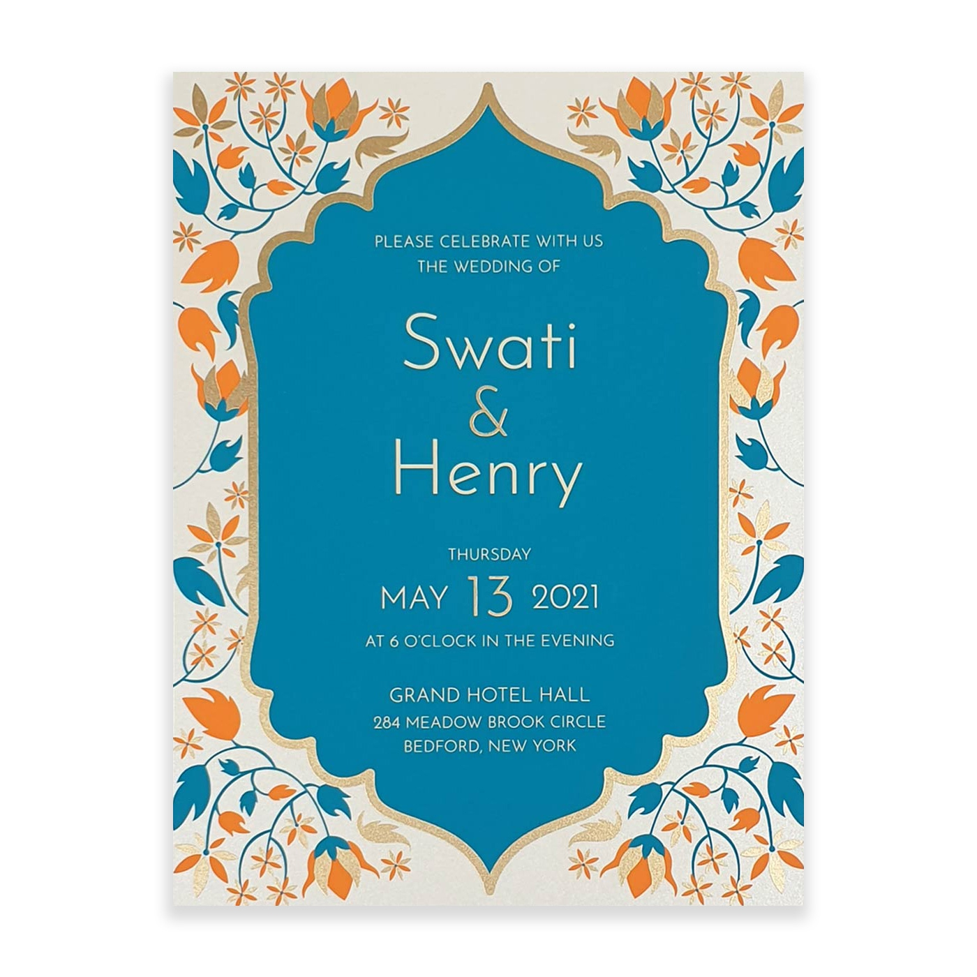 IVORY SHIMMERY FLORAL THEMED - SCREEN PRINTED WEDDING INVITATION : A-FAIRY_TALE_LEAVES - A2zWeddingCards