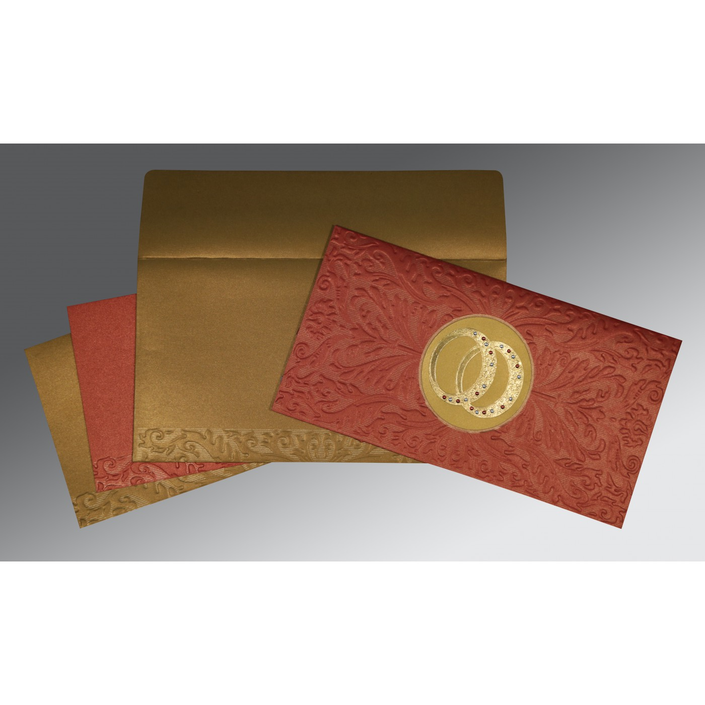 BRICK RED COPPER SHIMMERY FOIL STAMPED WEDDING CARD : AIN-1465 - A2zWeddingCards