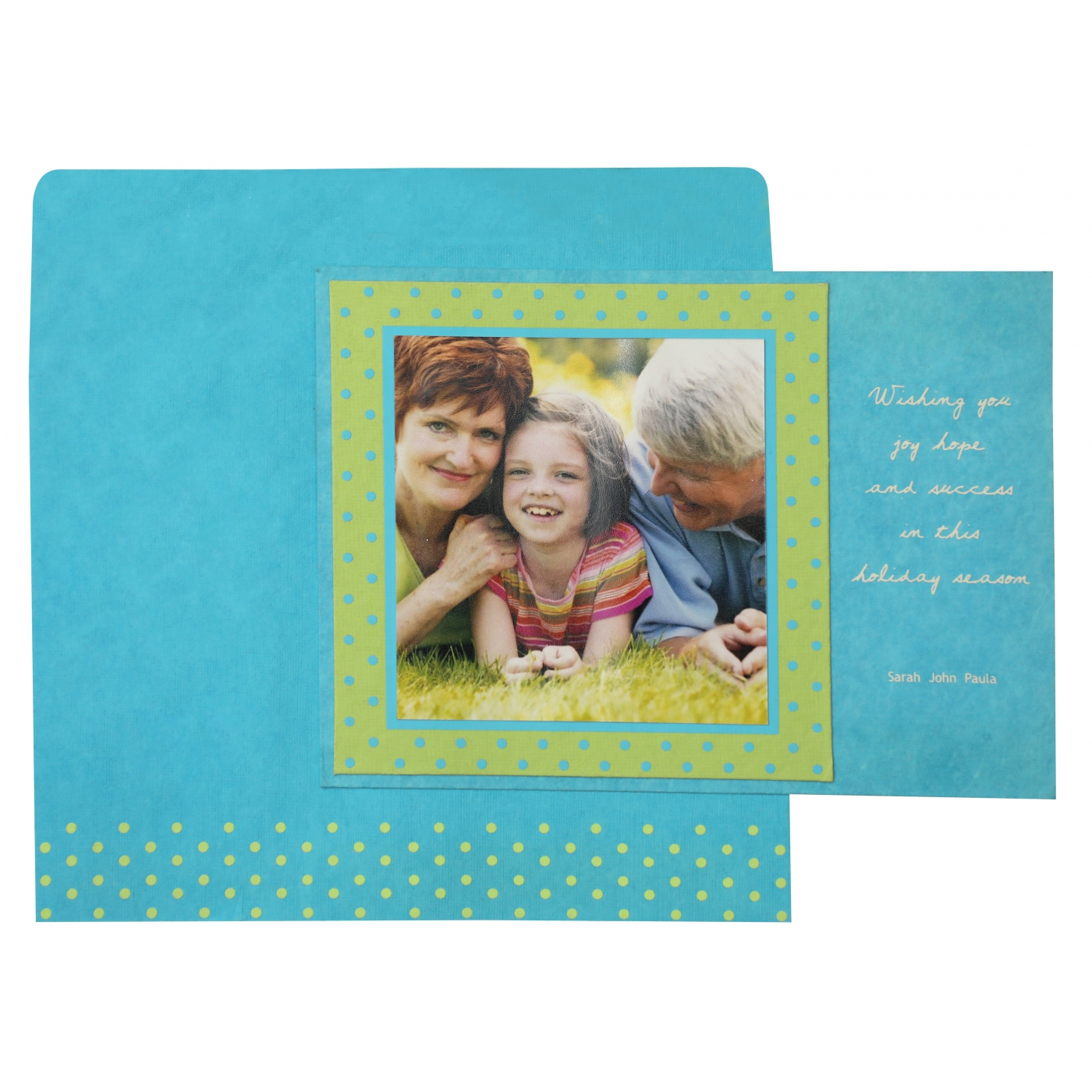 PARROT GREEN TURQUOISE HANDMADE COTTON SCREEN PRINTED HOLIDAY CARDS : AH-860 - A2zWeddingCards
