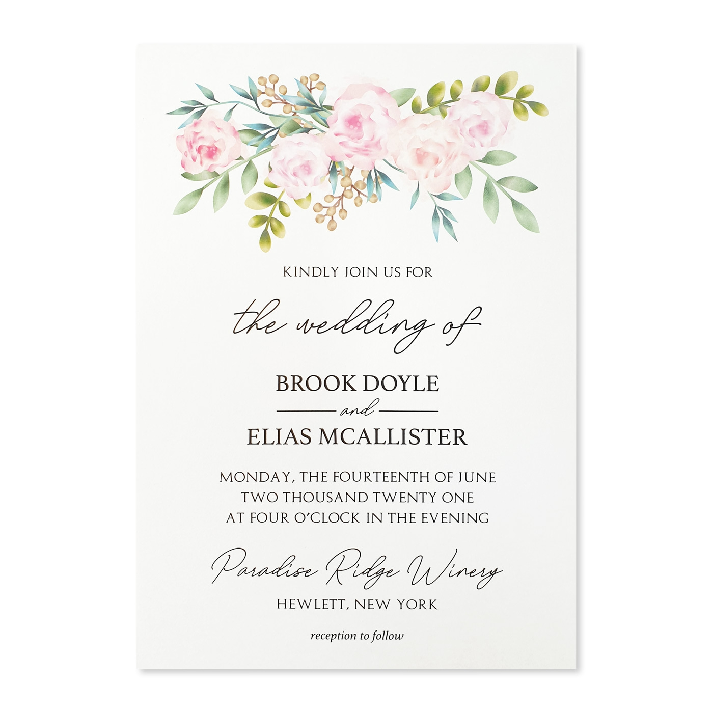 WHITE MATTE FLORAL THEMED - SCREEN PRINTED WEDDING INVITATION : A-PEONY_FALL - A2zWeddingCards