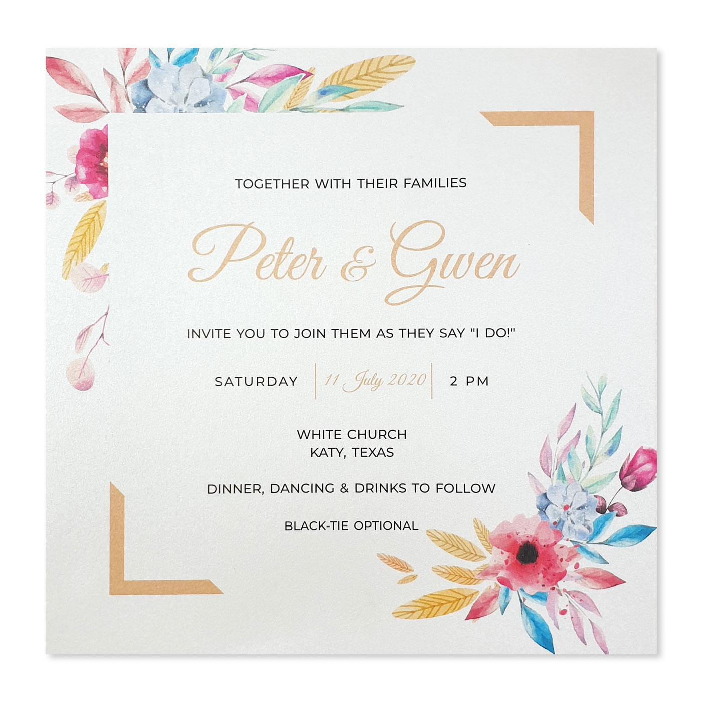 WHITE SHIMMERY FLORAL THEMED WEDDING INVITATION : A-BOUQUET - A2zWeddingCards
