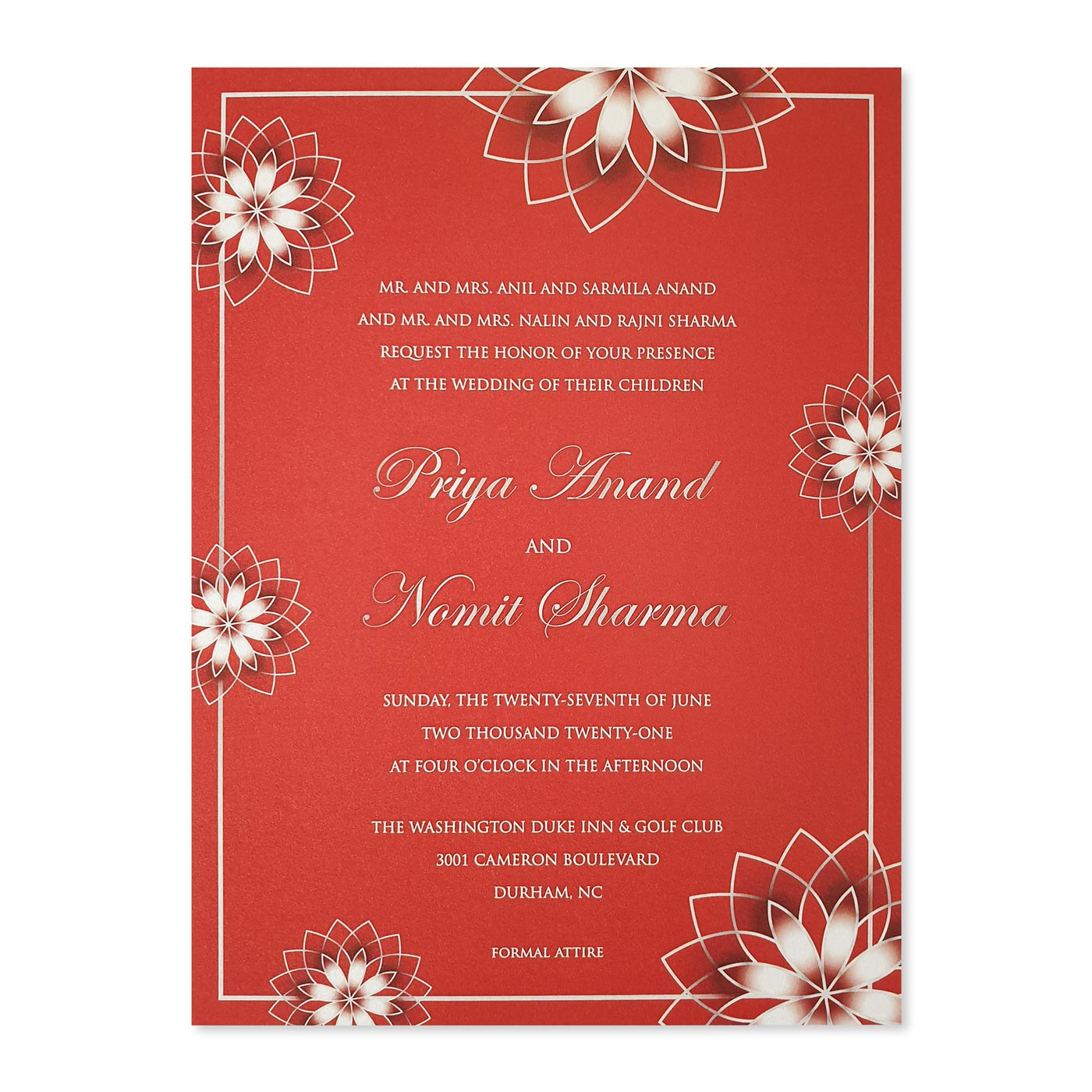 WHITE SHIMMERY FLORAL THEMED WEDDING INVITATION : A-ROSE_OUTLINE - A2zWeddingCards
