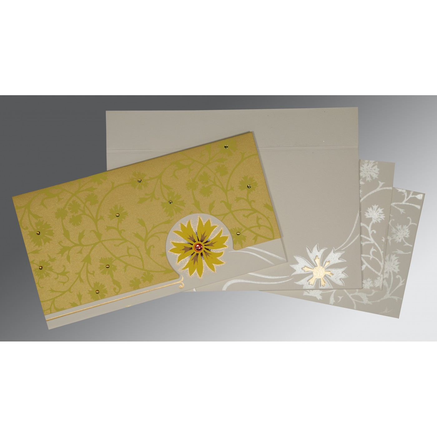OFF-WHITE YELLOW MATTE FLORAL THEMED - EMBOSSED WEDDING CARD : ARU-1380 - A2zWeddingCards