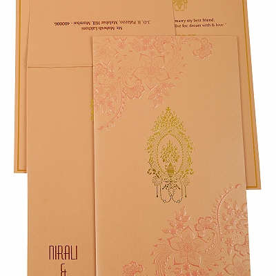 Baby Pink Shimmery Floral Themed - Foil Stamped Wedding Invitation : AIN-1921
