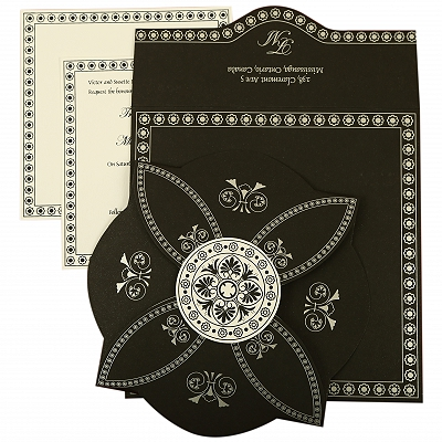 Black Butterfly Themed - Screen Printed Wedding Invitation : AIN-820E