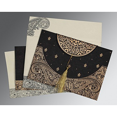 Black Handmade Cotton Embossed Wedding Card : ASO-8234A - IndianWeddingCards