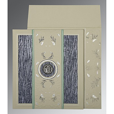 Black Matte Embossed Wedding Card : ARU-1261 - A2zWeddingCards