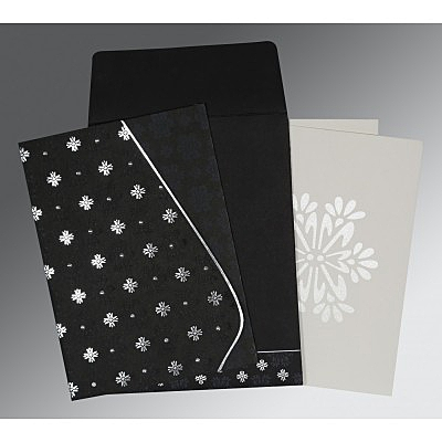 Black Matte Floral Themed - Foil Stamped Wedding Invitation : AI-8237H - IndianWeddingCards