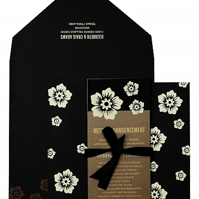 Black Matte Floral Themed - Screen Printed Wedding Invitation : AIN-825