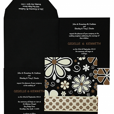 Black Matte Floral Themed - Screen Printed Wedding Invitation : AW-842
