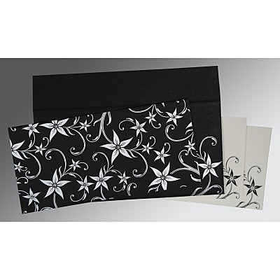 Black Matte Floral Themed - Screen Printed Wedding Invitations : AD-8225A - A2zWeddingCards